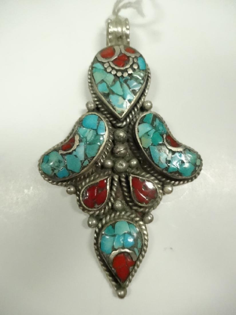 """TURQUOISE & CORAL PENDANT, APPROX 2 7/8"""" X 1 5/8"""""""