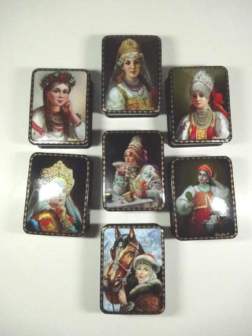 7 PC RUSSIAN HAND PAINTED LACQUERED BOXES, PORTRAITS OF