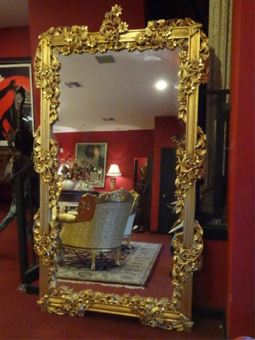 HUGE LOUIS XIV STYLE GOLD GILT MIRROR, CARVED FLORALS