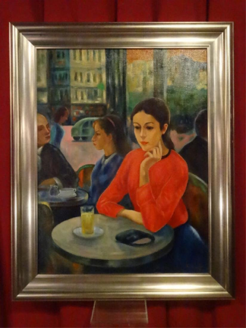 F. GALE SIGNED PAINTING ON CANVAS, WOMAN IN CAFE,