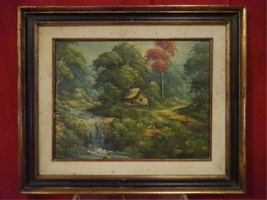 OIL ON BOARD PAINTING, HOUSE BY WATERFALL, UNSIGNED,