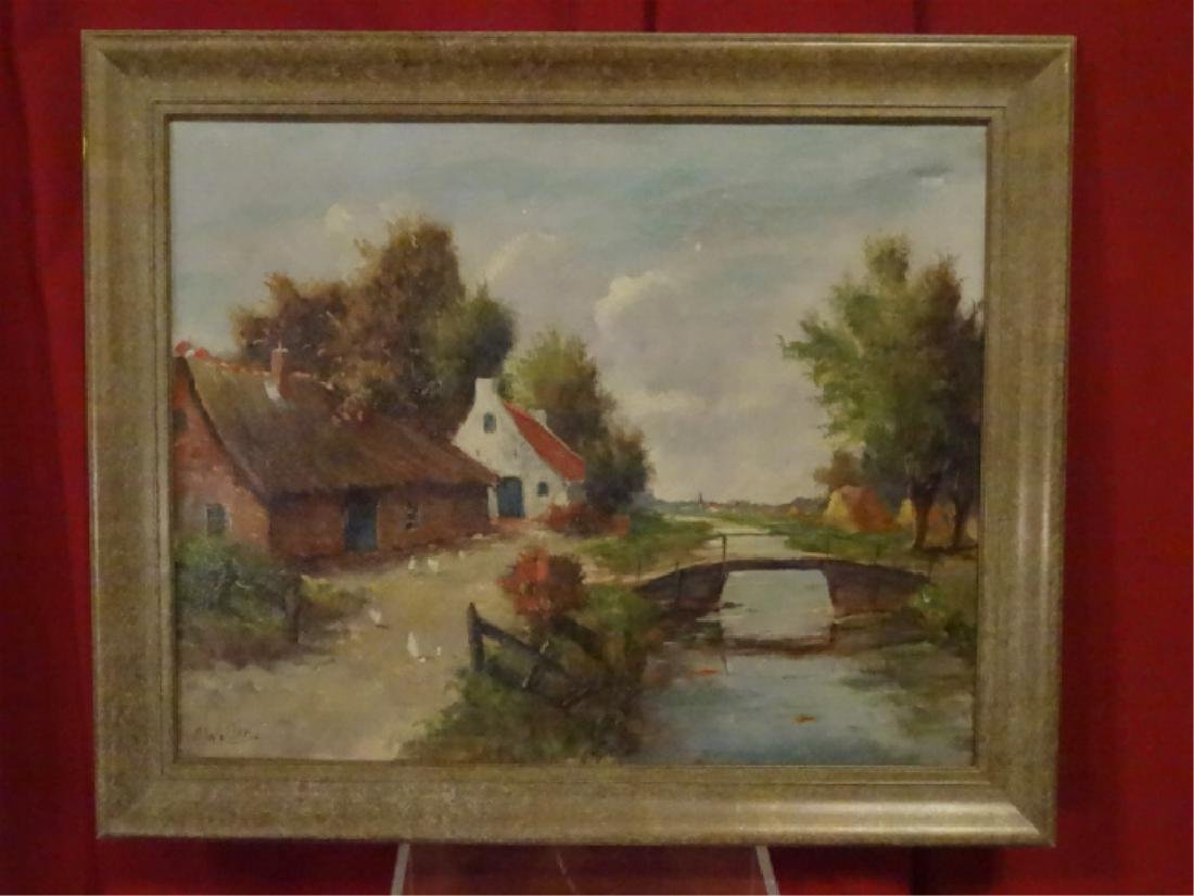 OIL ON CANVAS PAINTING, EUROPEAN CANAL SCENE, SIGNED C.