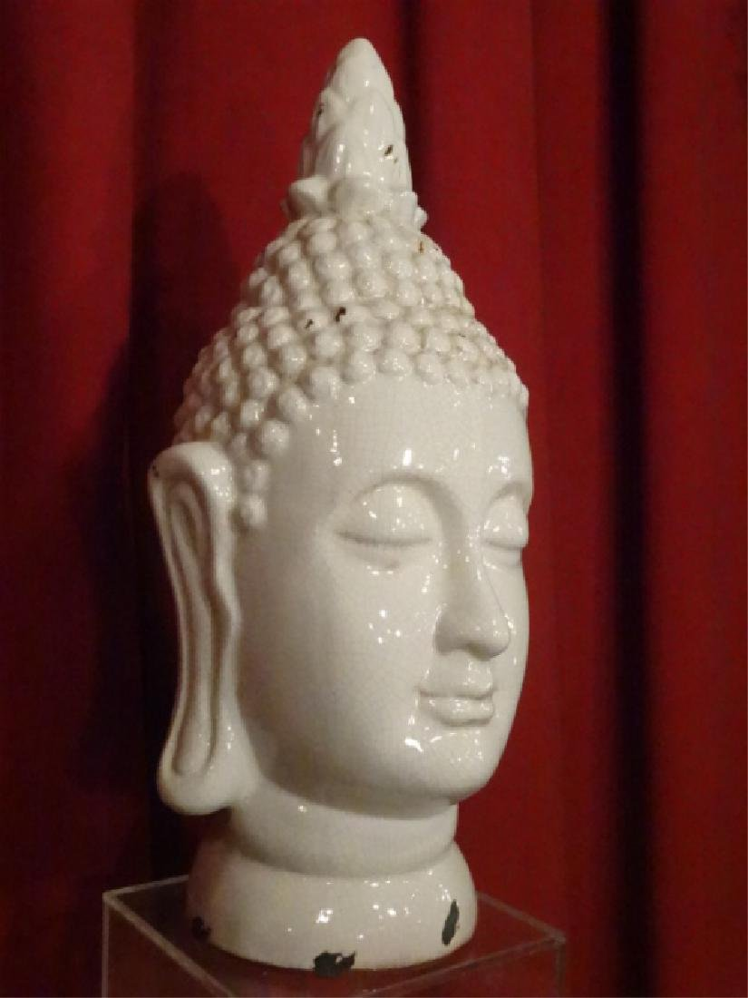 LARGE CERAMIC BUDDHA HEAD SCULPTURE, WHITE CRAQUELURE