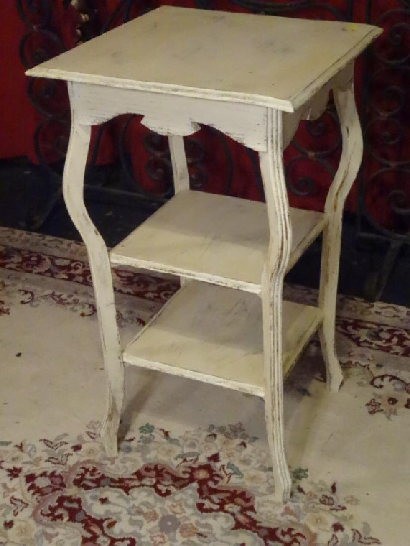 3 TIER SIDE TABLE, WHITE PAINTED FINISH, LIGHTLY