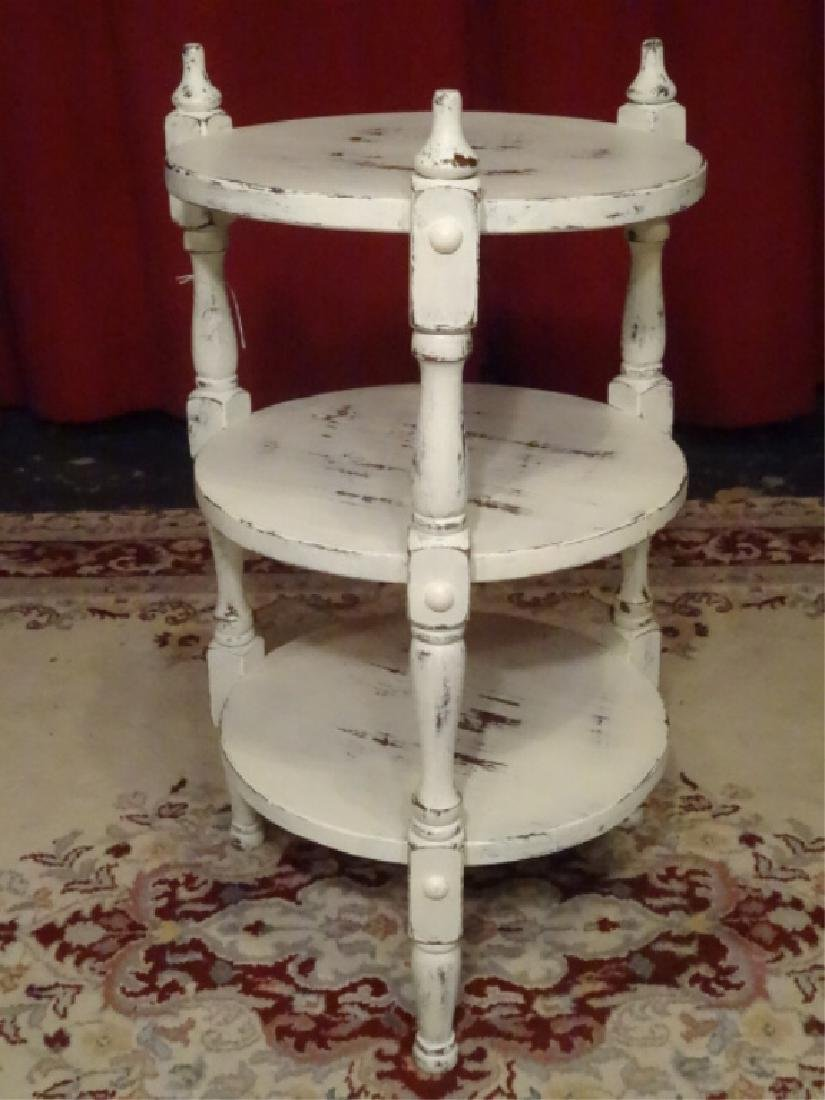 3 TIER WHITE PAINTED WOOD TABLE, DISTRESSED FINISH, NEW