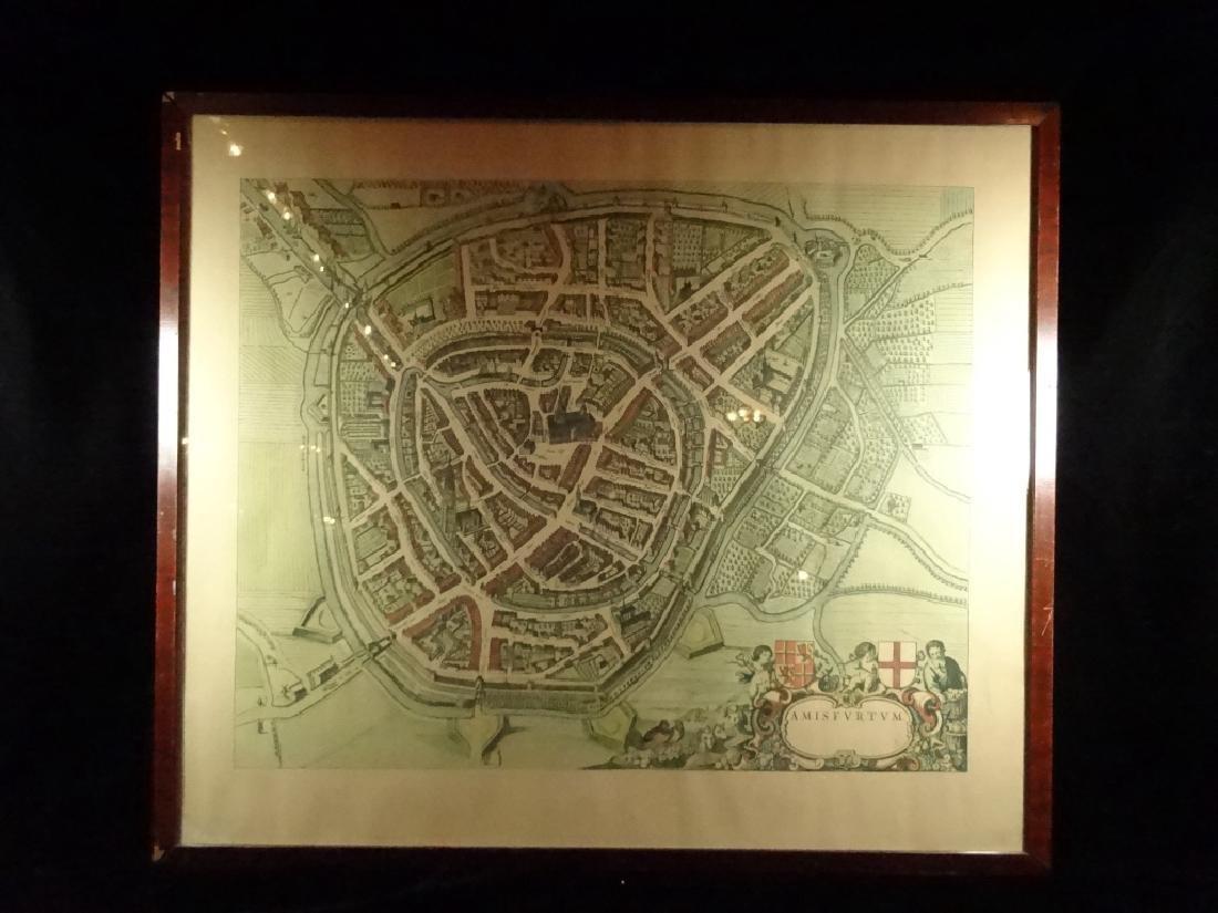 """FRAMED PRINT, ANTIQUE MAP OF AMSTERDAM (""""AMISFVRTVM""""),"""