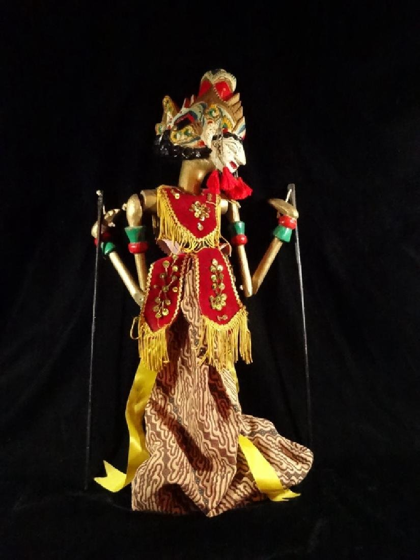 INDONESIAN BALINESE WOOD PUPPET, ARMS ON STICKS, APPROX