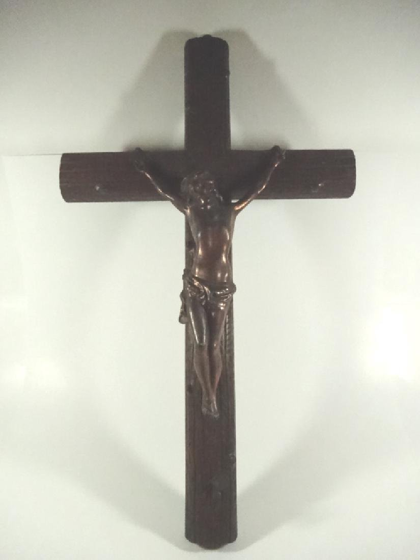 WOOD CRUCIFIX WITH COPPER METAL JESUS, HANGS ON WALL,