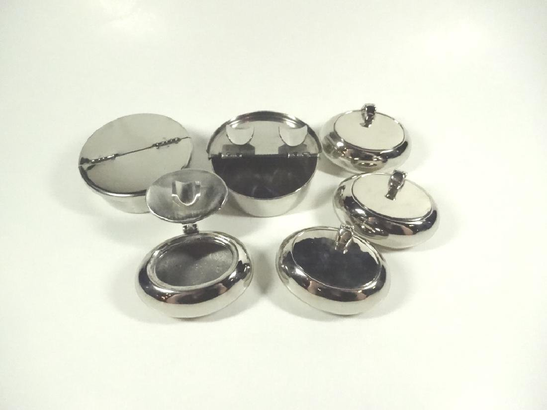 6 PC INDIVIDUAL ASHTRAYS WITH LIDS, INCLUDES 2 ROUND