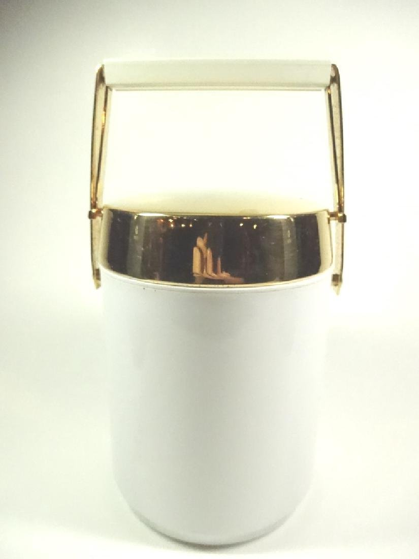 VINTAGE ICE BUCKET, WHITE WITH GOLD TONE HANDLE, APPROX