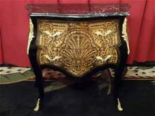LOUIS XV STYLE MARQUETRY BOMBE CHEST BEVELED MARBLE