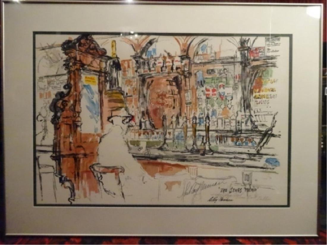 LARGE LEROY NEIMAN SERIGRAPH, STAG'S HEAD BAR SCENE,