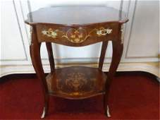 LOUIS XV STYLE MARQUETRY TABLE, GILT METAL MOUNTS, VERY