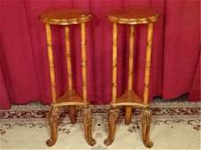 PAIR CARVED WOOD PEDESTALS OR PLANTSTANDS MEDIUM