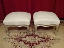 PAIR LOUIS XV STYLE SILVER GILT FOOTSTOOLS, WHITE FAUX
