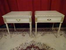 PAIR VINTAGE LOUIS XVI STYLE TABLES WHITE AND GOLD