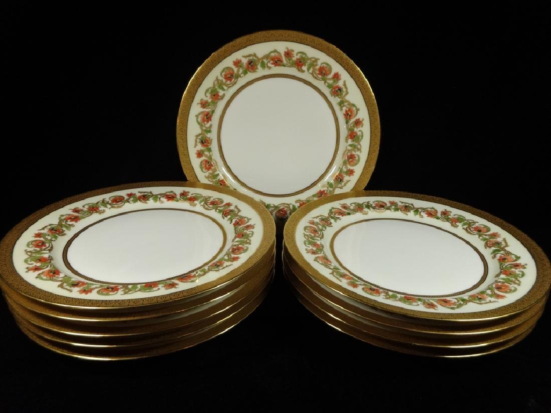10 PC HAVILAND LIMOGES PLATES, GOLD BAND & RIM WITH