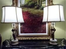 PAIR FIGURAL GILT METAL AND CRYSTAL LAMPS VERY GOOD