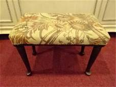 VINTAGE QUEEN ANNE STYLE STOOL DARK FINISH UPHOLSTERED