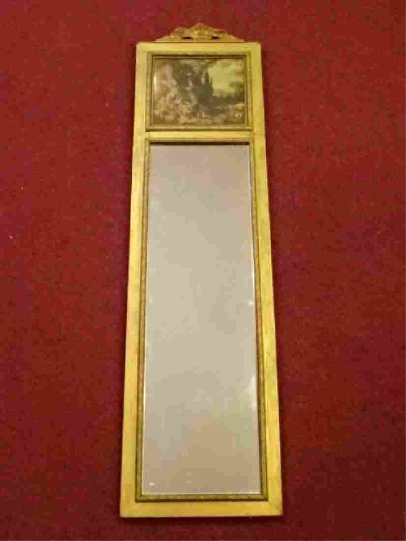 VINTAGE GILT WOOD TRUMEAU MIRROR, PAINTED 18TH CENTURY