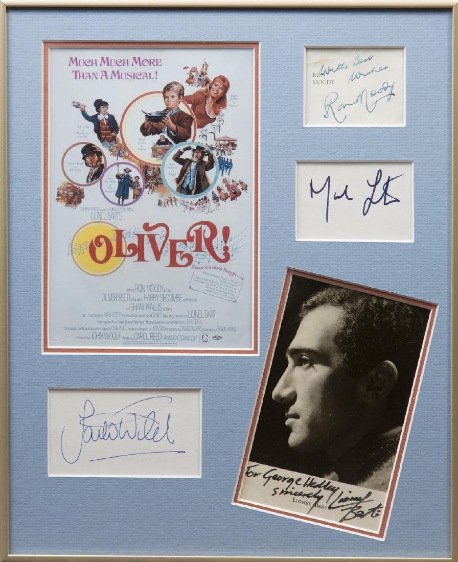 OLIVER!: Small selection of signed pieces and cards