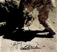 APOLLO XVI: Signed colour 10 x 8 photograph by both