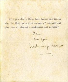 KRISHNA RAJA WADIYAR IV: (1884-1940) Maharaja of Mysore