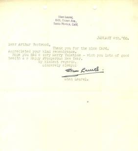 LAUREL STAN: (1890-1965) English Film Comedian. Three