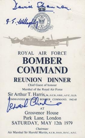 BOMBER COMMAND: A good printed 8vo menu for the Royal