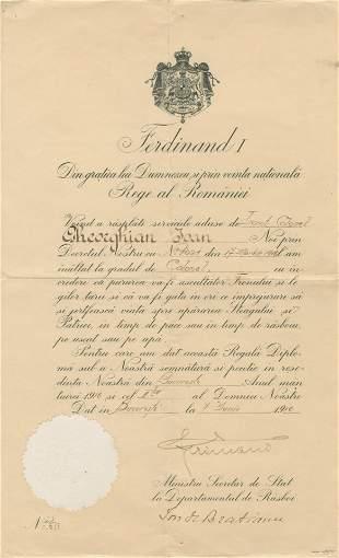 FERDINAND I OF ROMANIA: (1865-1927)