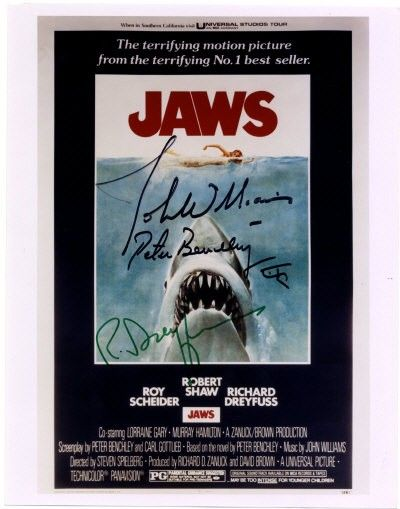 JAWS: Signed colour 8 x 10 photograph by Richard D