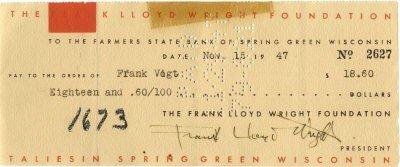 625: WRIGHT FRANK LLOYD: (1867-1959) American Architect