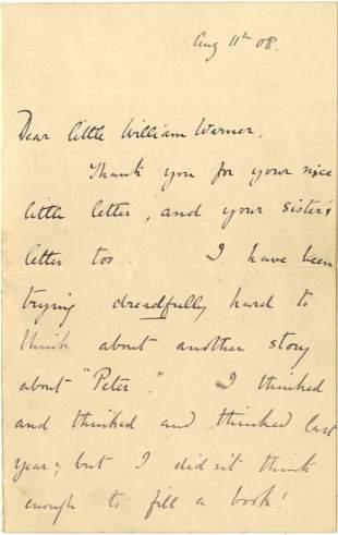 501: POTTER BEATRIX: (1866-1943) English Author of Chil
