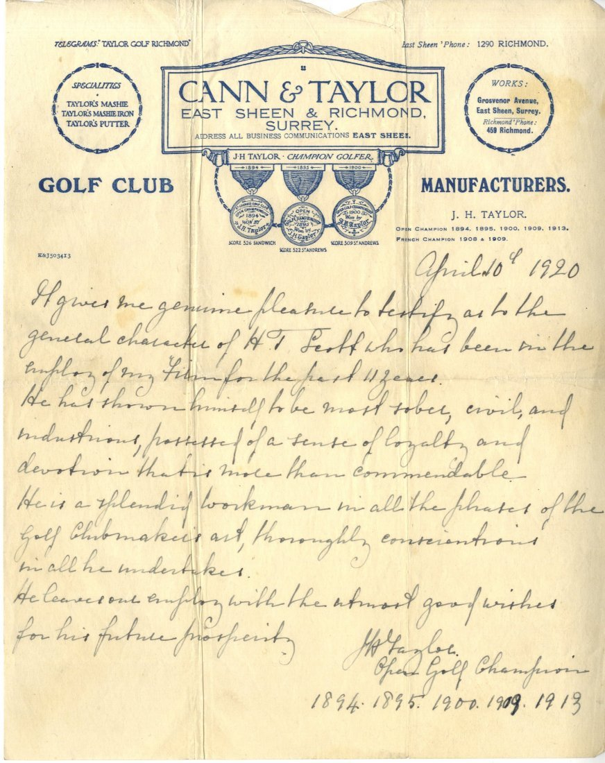 2: TAYLOR J. H.: (1871-1963) English Golfer, Open Champ