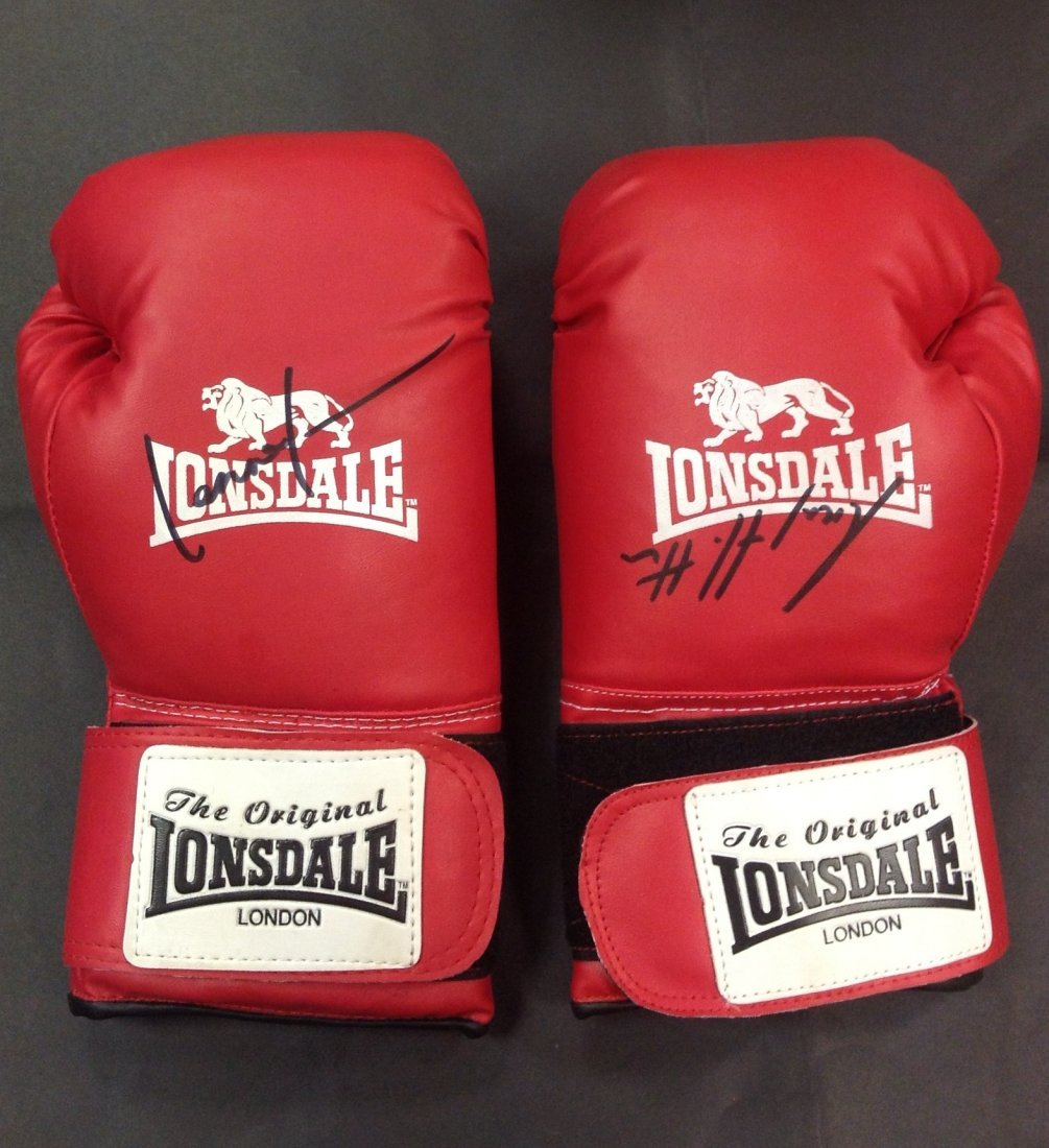 19: BOXING: Two red Lonsdale boxing gloves individually
