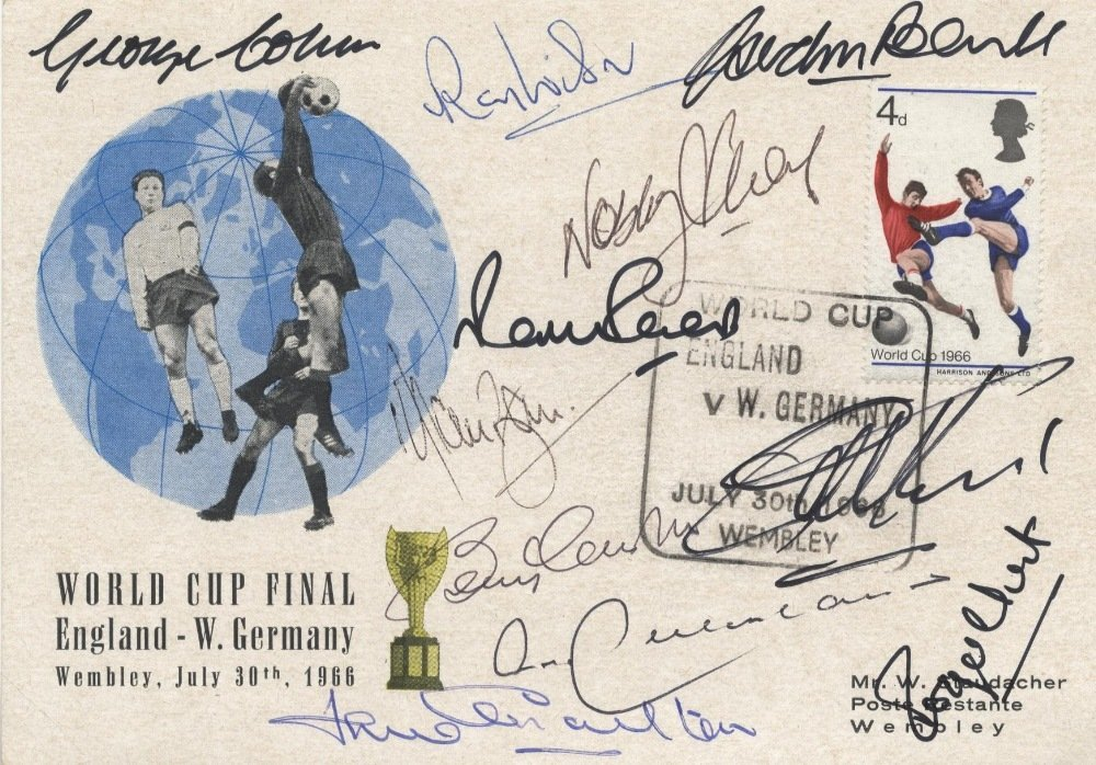 ENGLAND FOOTBALL: A 8vo commemorative card featuring a