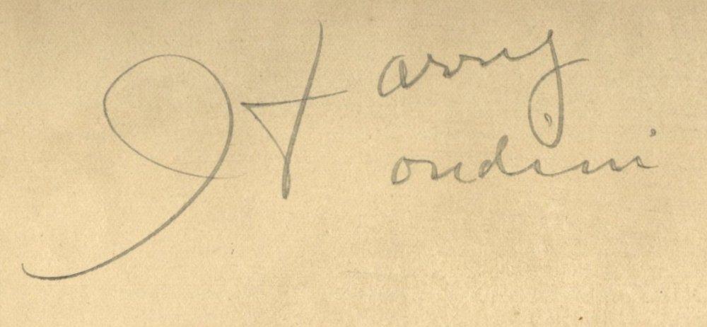 HOUDINI HARRY: (1874-1926) Hungarian-American Magician