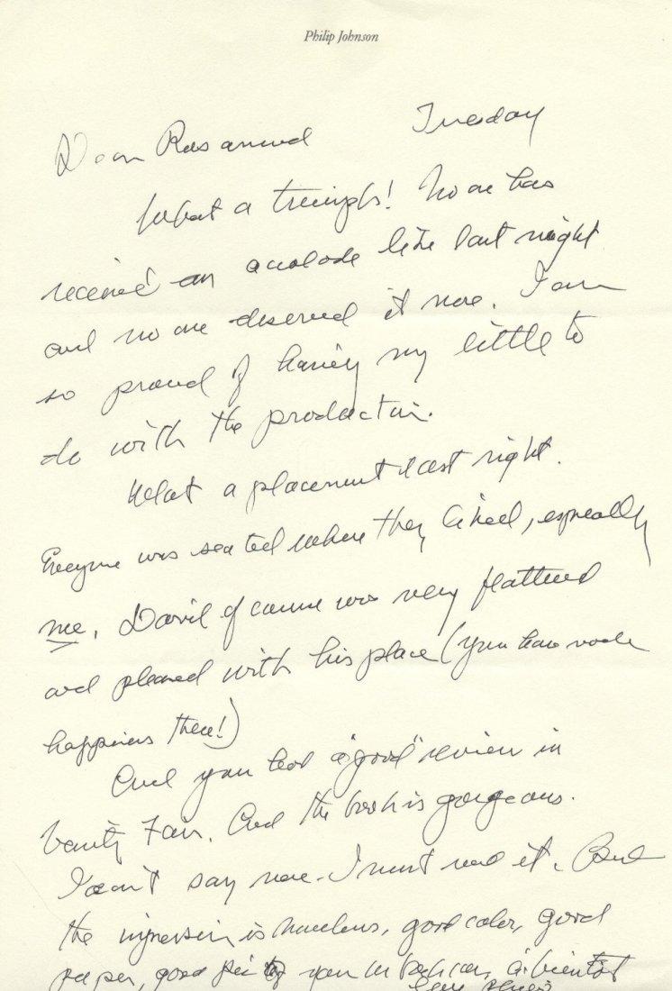 JOHNSON PHILIP: (1906-2005) American Architect. A.L.S.