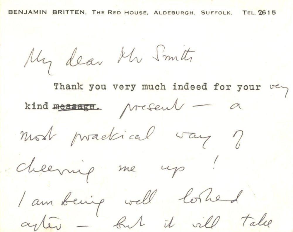 BRITTEN BENJAMIN: (1913-1976) English Composer. A.L.S.,