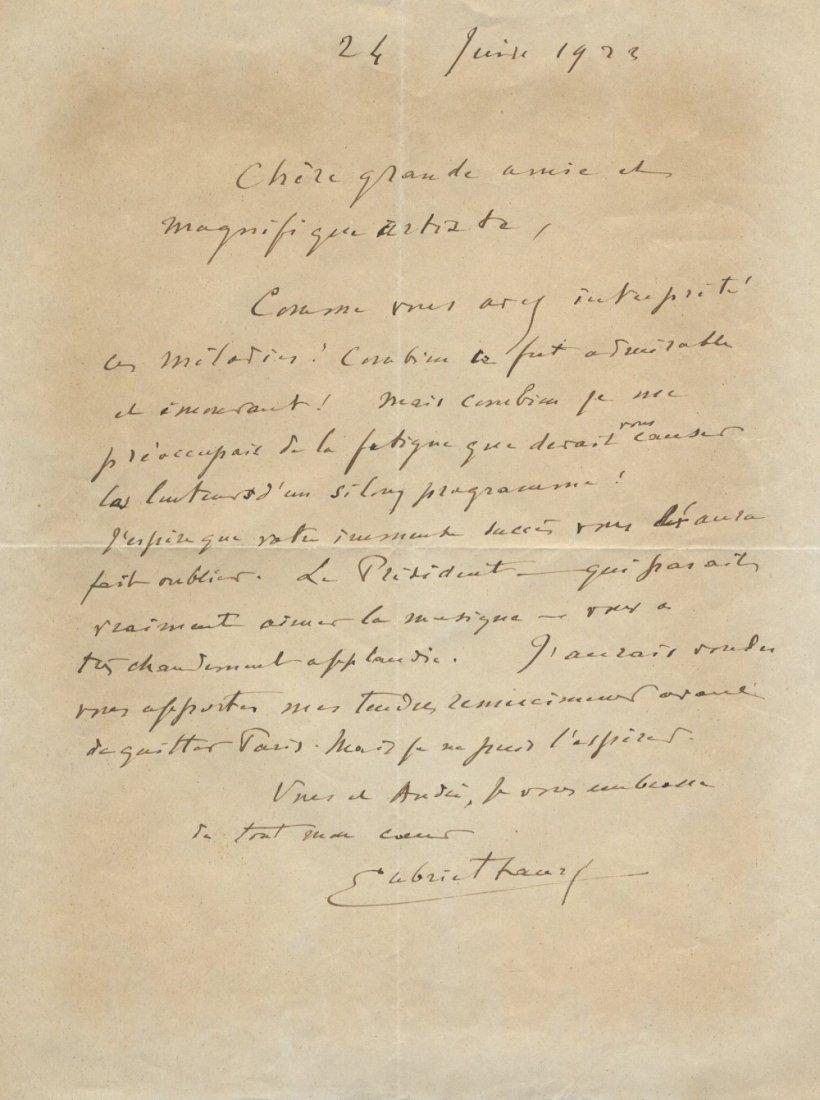 FAURE GABRIEL: (1845-1924) French Composer. A.L.S, Gabr