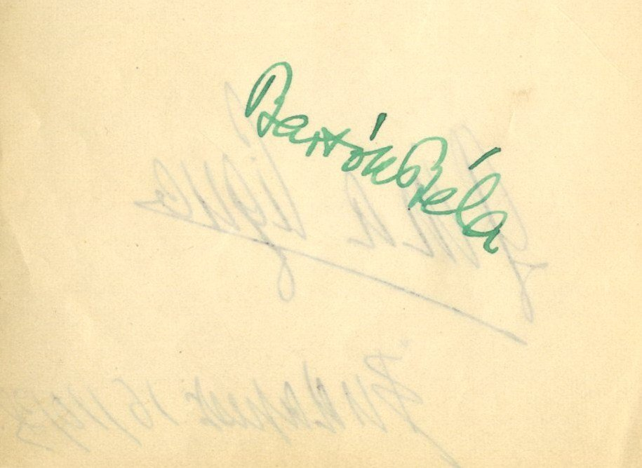 BARTOK BELA: (1881-1945) Hungarian Composer. Bold green
