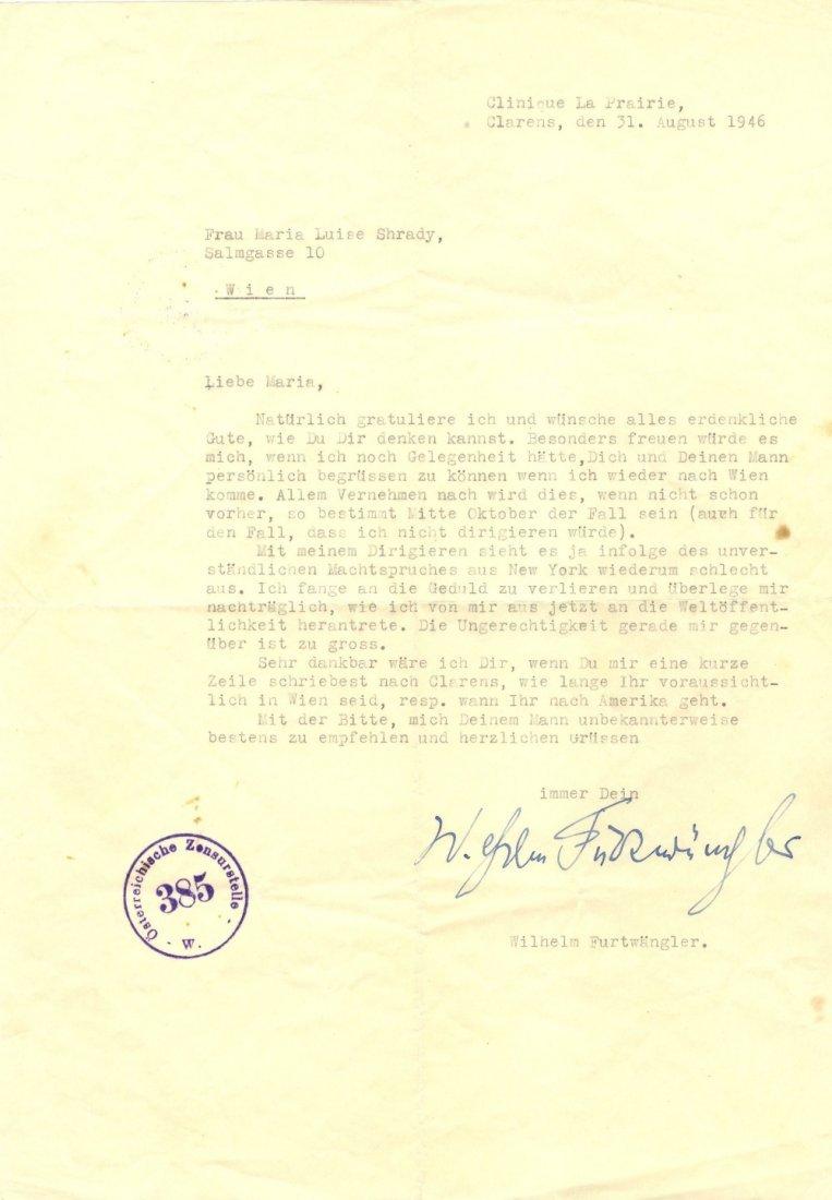 FURTWANGLER WILHELM: (1886-1954) German Conductor & Com