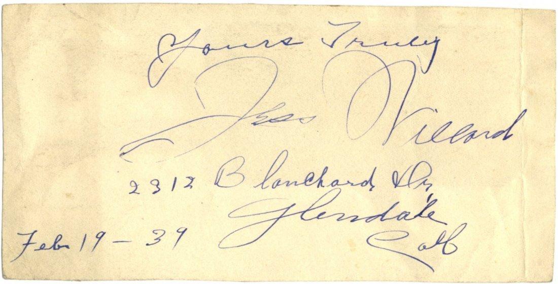 WILLARD JESS: (1881-1968) American World Heavyweight