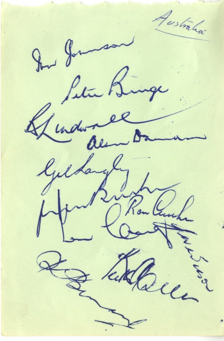AUSTRALIAN CRICKET: Two pages removed from an autograph