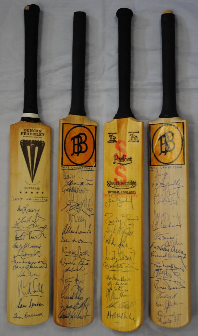 CRICKET: Selection of four miniature cricket bats, each