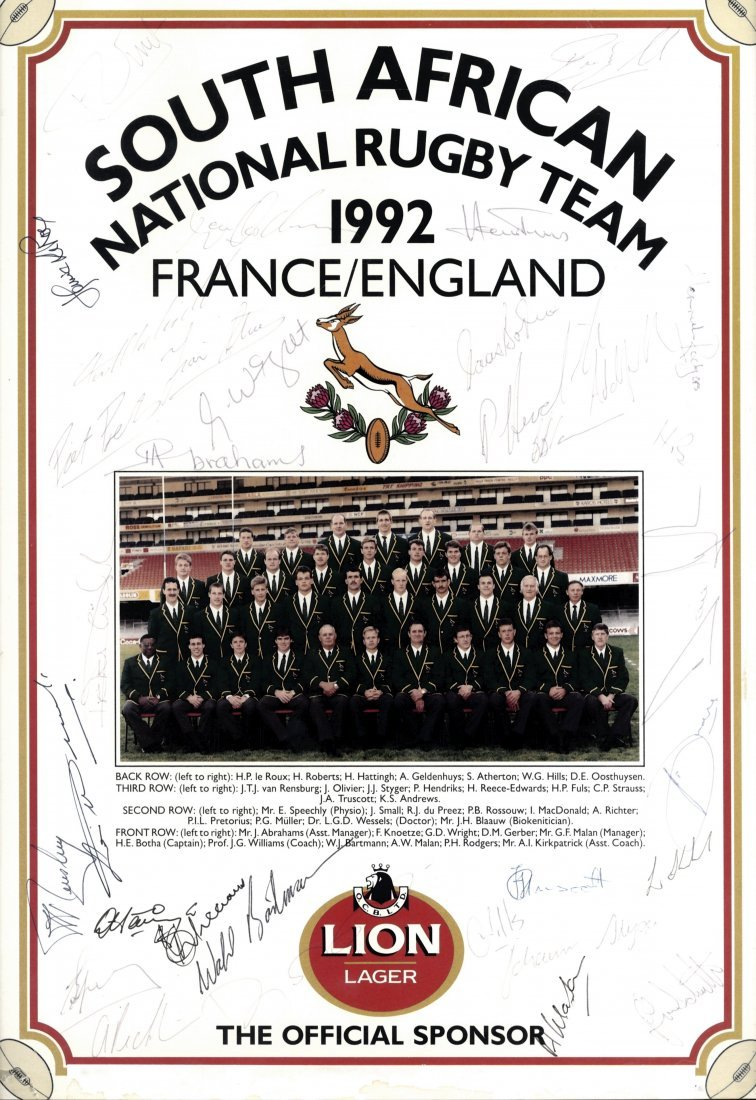 SOUTH AFRICAN RUGBY: A colour 11.5 x 16 poster issued