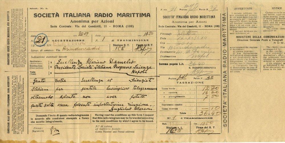 MARCONI GUGLIELMO: (1874-1937) Italian Inventor,