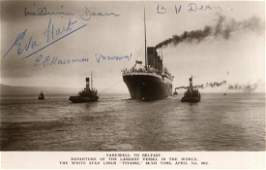 TITANIC Two vintage postcard photographs of the RMS