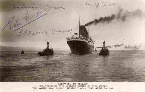 TITANIC: Two vintage postcard photographs of the RMS