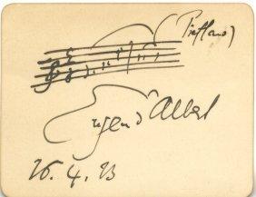 D'albert Eugen: (1864-1932) German Pianist & Composer.